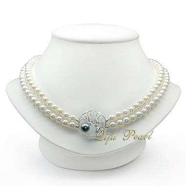 6.5-7.5mm AA Double Rowed Freshwater Pearl Necklace 1