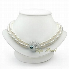 6.5-7.5mm AA Double Rowed Freshwater Pearl Necklace