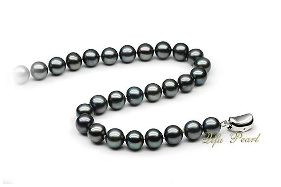 7.5-8mm Black Akoya Pearl Necklace  2