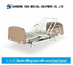 Electric lifting bed with wood bed head