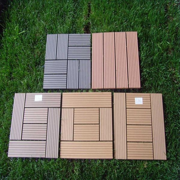Wood plastic composite decking tile edt meisen china for Plastic composite decking