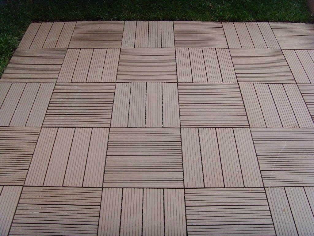 Wpc diy easy installation decking tile edt meisen for Plastic composite decking