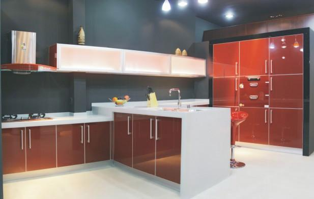 UV On MDF Kitchen Cabinet Ared China Manufacturer
