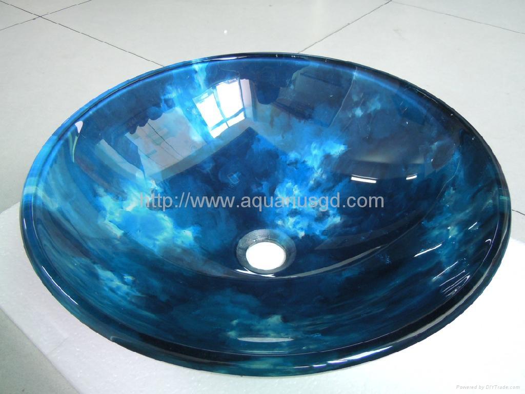... Blue Tempered Glass Vessel Sinks AQ2114 3 ...