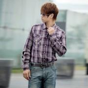 紫色細格雙口袋標識 男士長袖純棉休閑襯衫-SRT-0353