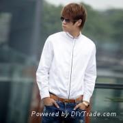 門襟領子黑色 男士長袖純棉休閑白色襯衫-SRT-0321