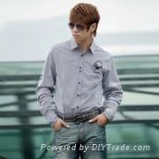 黑白二色標識 男士長袖純棉休閑襯衫-SRT-0333