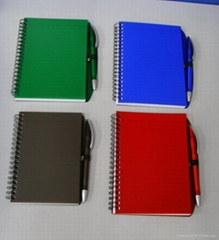 PP cover spiral notebooks with pen