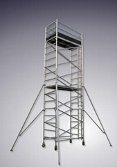 Double width scaffolding with vertical ladder