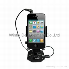 car holder with handsfree FM transmitters for smartphone