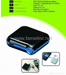powerbank Charger with 11,000mAh Capacity, Suitable for iPad, iPhone and ipod