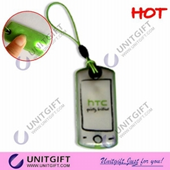 With led keychain mobile strap PVC screen cleaner