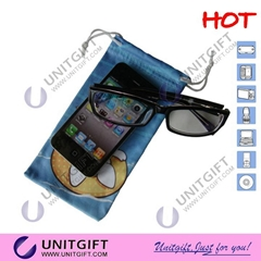 Full color priniting eyeglasses microfiber cleaning pouch