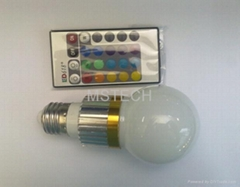 3W RGB LED Bulb Light with Remote Controller (MS-RGB3W-A)