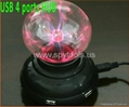 USB 4 ports HUB Plasma Ball Sphere Light Lamp Desktop