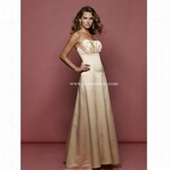 A-Line Strapless Champagne Satin Evening Dress/LST001
