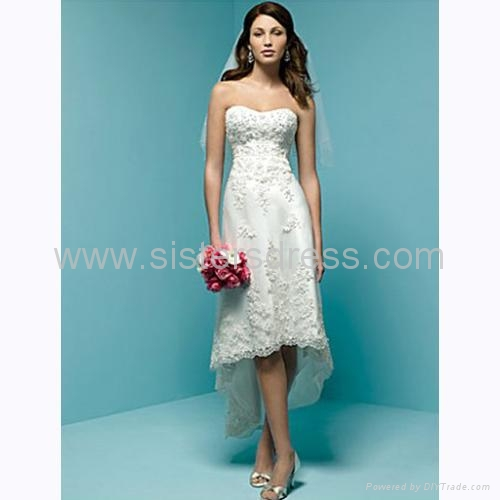 A-Line Strapless Ivory chiffon Front short Back Long Mini Wedding ...