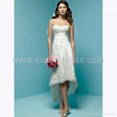 A-Line Strapless Ivory chiffon Front short Back Long Mini Wedding Dress