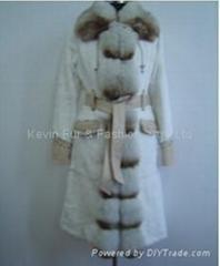 Rabbit coat with Fox fur collar