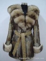Hare rabbit  coat with blue fox collar