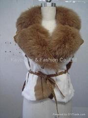 Kid Fur  coat with fox fur collar and goat belt.