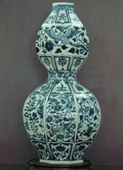 Underglaze Blue Octagonal Gourd vase