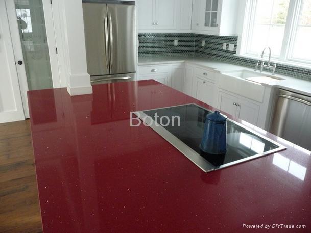 Red Quartz Countertops : Stella red engineering quartz stone with mirror flecks for