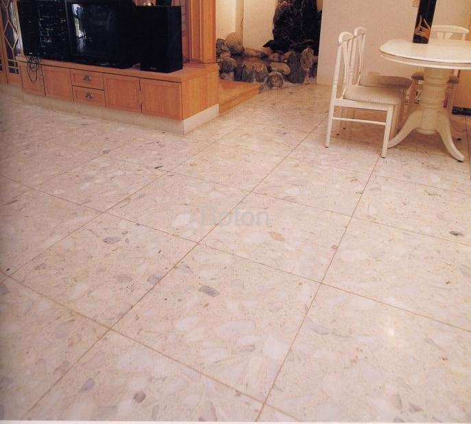 Pure White Grain Artificial Stone Floor Tiles 1