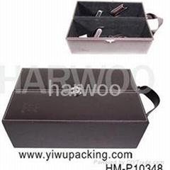 雙支葡萄酒皮盒 紅酒包裝盒