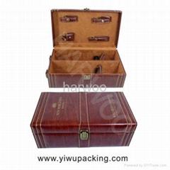 雙支棕色皮革葡萄酒盒