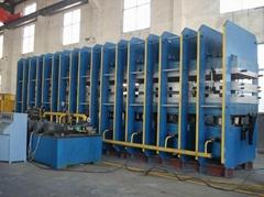 the line of converyor belt vulcanizing press