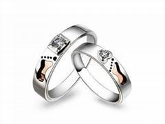 指纹婚戒指纹戒指18K分色对戒爱的足迹