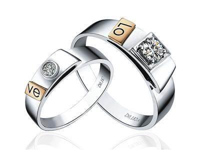 指纹婚戒指纹戒指18K分色对戒LOVE 1