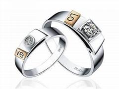 指纹婚戒指纹戒指18K分色对戒LOVE