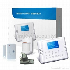 LCD wireless PSTN+GSM security alarm system for home
