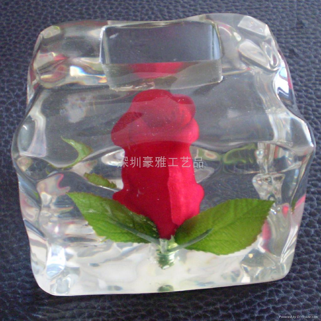 树脂工艺品; 水晶胶玫瑰花摆件