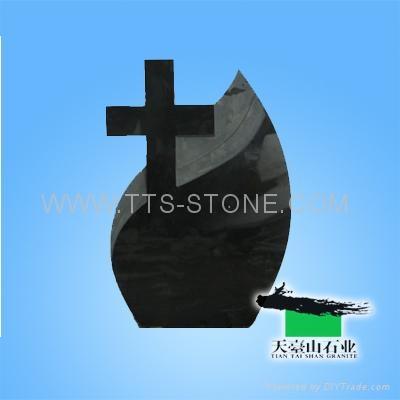 Shanxi Black cross granite tombstone  4