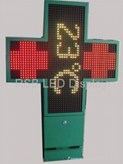 P16 Dual-color LED Cross Display for Pharmacy Shop, Display Sized 768 x 768mm