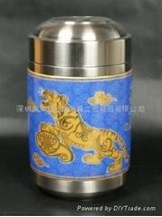 茶葉罐 福虎如意(紅)