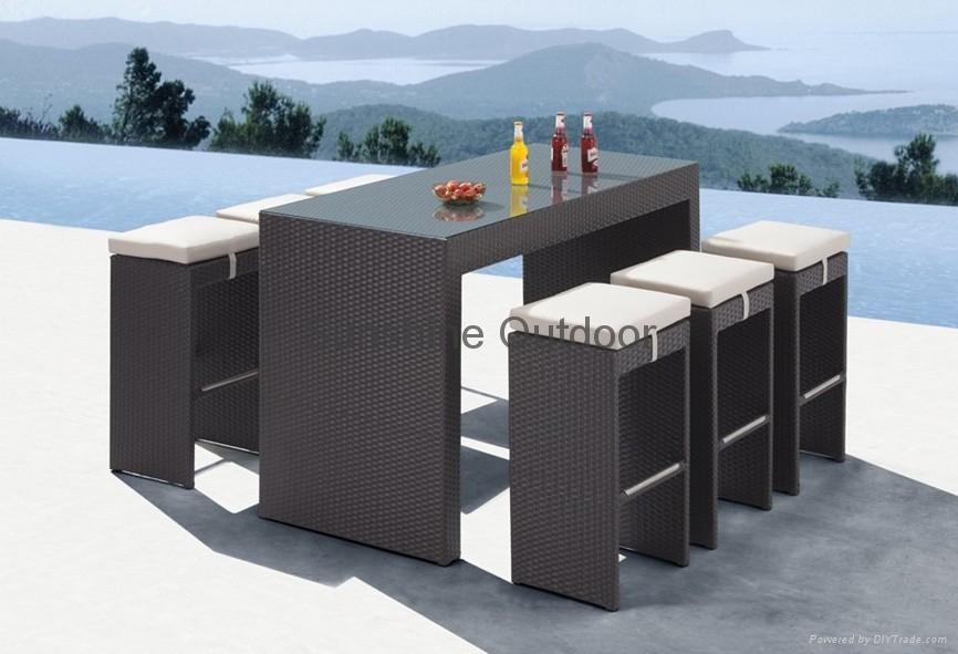 Patio Bistro Set   Rattan Bar Table And Chair 1 ...