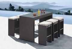 Patio Bistro Set - Rattan Bar table and chair