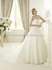 Pronovias Top Quality Embroidery Satin With Tulle Layers Wedding Gown Dress