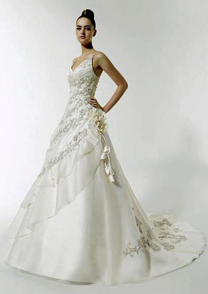2011 new style pure white beads silver yarn embroidery wedding bridal dress