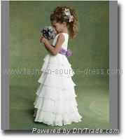 2011 new style pure white Angel flower girl dress