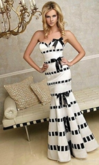 2012 new design black and white satin wedding dress,bridesmaid dress