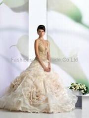 wedding dress brial dress ball gown with rose layer skirt on the top skirt