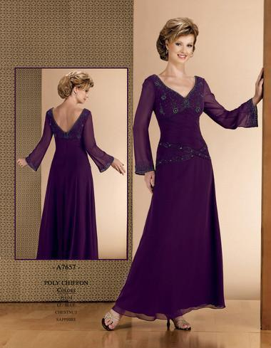Chiffon Dress on Purple Chiffon  V  Mother Of Bride Dress With Long Sleeves   Mob006