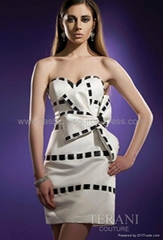 White&black satin tea-length wedding dress/evening/social dress