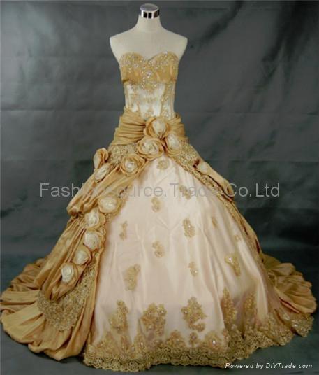 Taffeta Hollow beaded bodice and roses asymmetrical skirt wedding dress