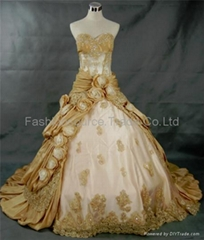 Taffeta Hollow beaded bodice and roses asymmetrical skirt wedding dress